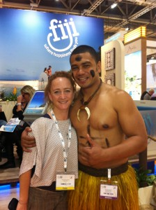 Kirsty and David at the WTM Fiji stand, 2013