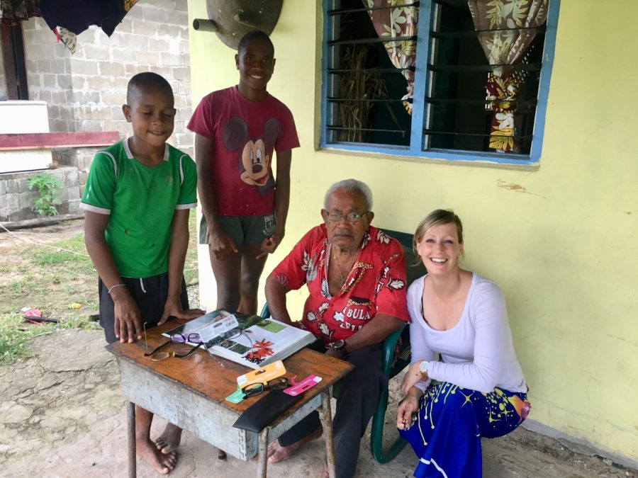 Donating reading glasses in Lavena Island Spirit Fiji